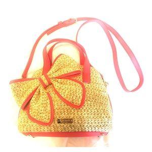 NWOT Kate Spade Hot Pink Straw Handbag